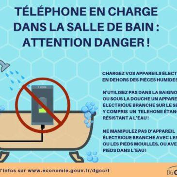 Électrocution téléphone portable baignoire